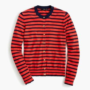 New J.Crew Striped Cotton Jackie Cardigan Sweater